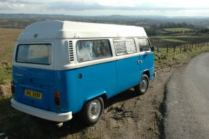 Blue Moon Hire Camper on hill