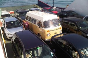 Harvest Moon VW Camper on Sandbanks Ferry
